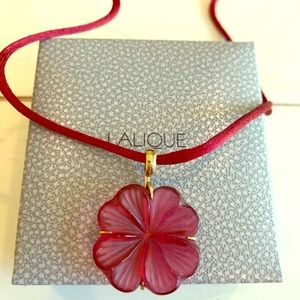 Lalique Crystal Red Fleur pendant with silk cord